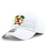Бейсболка '47 Brand - Chicago Blackhawks Clean Up (white)