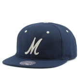 Бейсболка Mitchell & Ness - M&N Script M Leather Strapback (navy)