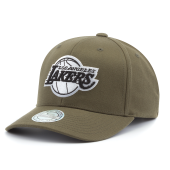 Бейсболка Mitchell & Ness - Los Angeles Lakers Black White Logo Flexfit 100 Snapback (olive)